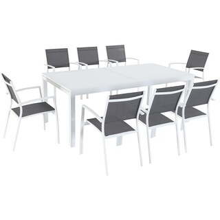 "Cambridge Palmero 9-Piece Outdoor Dining Set with 8 Sling Chairs in Gray and a 40"" x 118"" Expandable Dining Table"