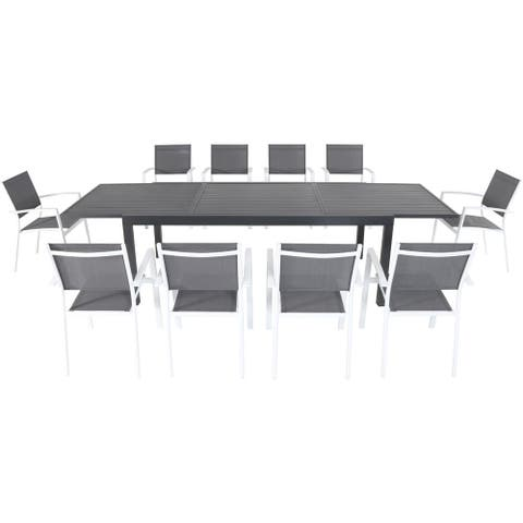 """Cambridge Nova 11-Piece Outdoor Dining Set with 10 Sling Chairs in Gray/White and a 40"""" x 118"""" Expandable Dining Table"""