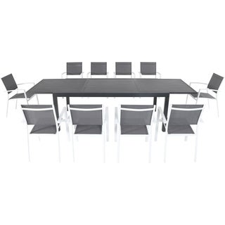 "Cambridge Nova 11-Piece Outdoor Dining Set with 10 Sling Chairs in Gray/White and a 40"" x 118"" Expandable Dining Table"