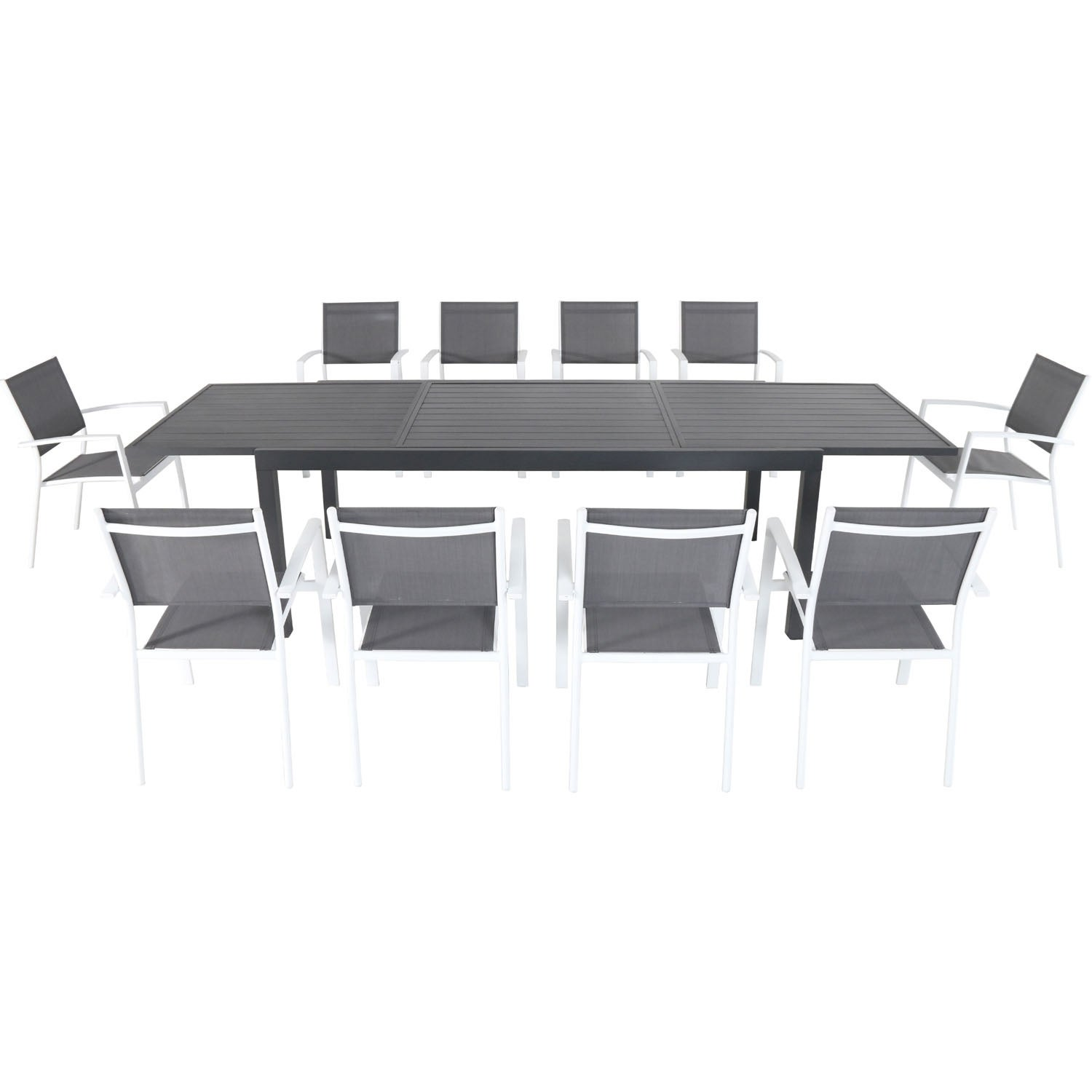 Cambridge Nova 11-Piece Outdoor Dining Set with 10 Sling Chairs in Gray/White and a 40 x 118 Expandable Dining Table