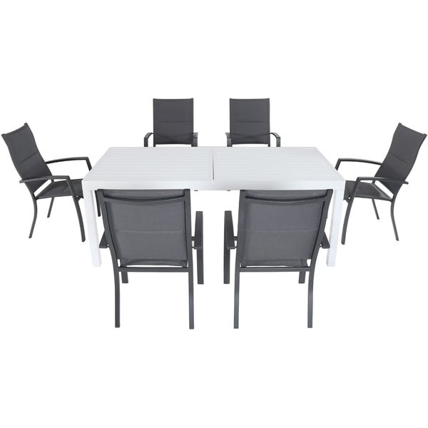 "Cambridge Palermo 7-Piece Outdoor Dining Set with 6 Padded Sling Chairs in Gray and a 40"" x 118"" Expandable Dining Table"