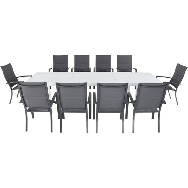 "Cambridge Palermo 11-Piece Outdoor Dining Set with 10 Padded Sling Chairs in Gray and a 40"" x 118"" Expandable Dining Table"