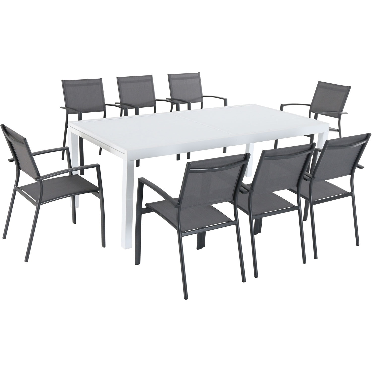Cambridge Palmero 9-Piece Outdoor Dining Set with 8 Sling Chairs in Gray and a 40 x 118 Expandable Dining Table