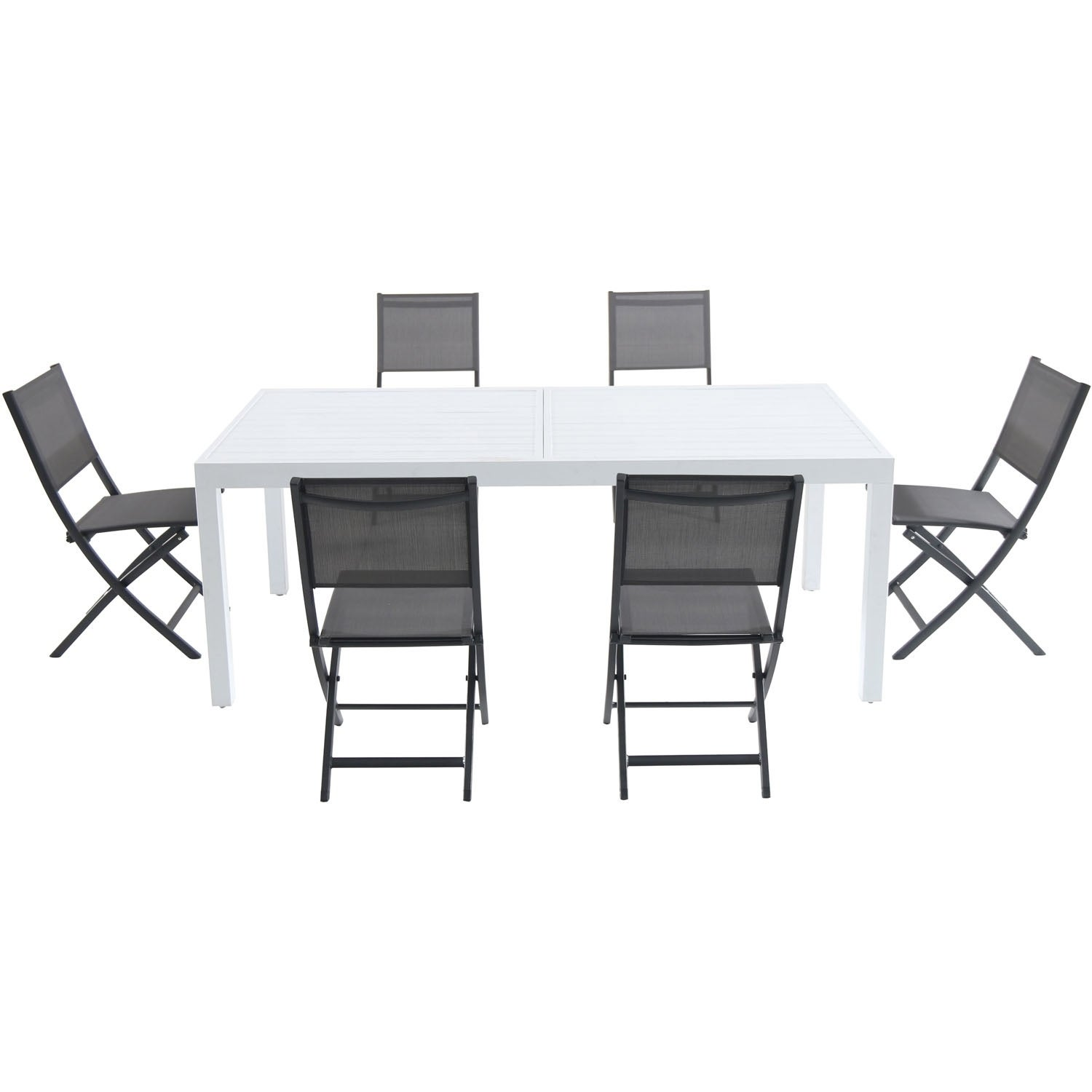 Cambridge Palermo 7-Piece Outdoor Dining Set with 6 Folding Sling Chairs in Gray and a White 40 x 118 Expandable Dining Table