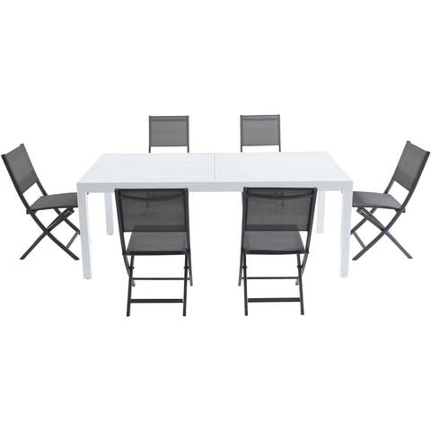 """Cambridge Palermo 7-Piece Outdoor Dining Set with 6 Folding Sling Chairs in Gray and a White 40"""" x 118"""" Expandable Dining Table"""