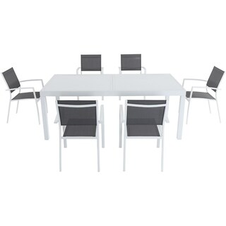 "Cambridge Palmero 7-Piece Outdoor Dining Set with 6 Sling Chairs in Gray/White and a 40"" x 118"" Expandable Dining Table"