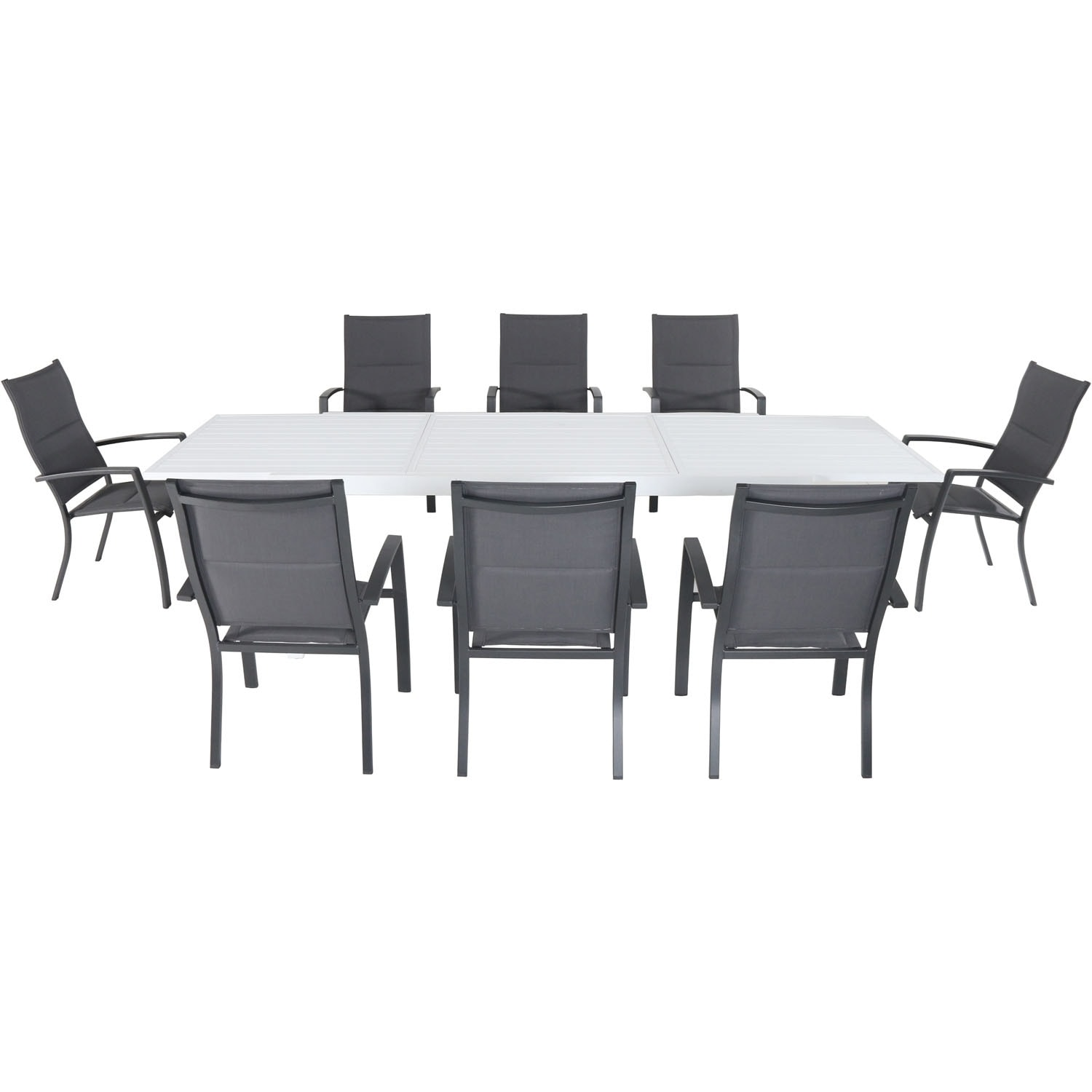 Cambridge Palermo 9-Piece Outdoor Dining Set with 8 Padded Sling Chairs in Gray and a 40 x 118 Expandable Dining Table