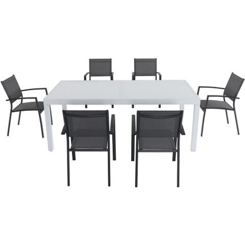 "Cambridge Palermo 7-Piece Outdoor Dining Set with 6 Sling Chairs in Gray and a 40"" x 118"" Expandable Dining Table"