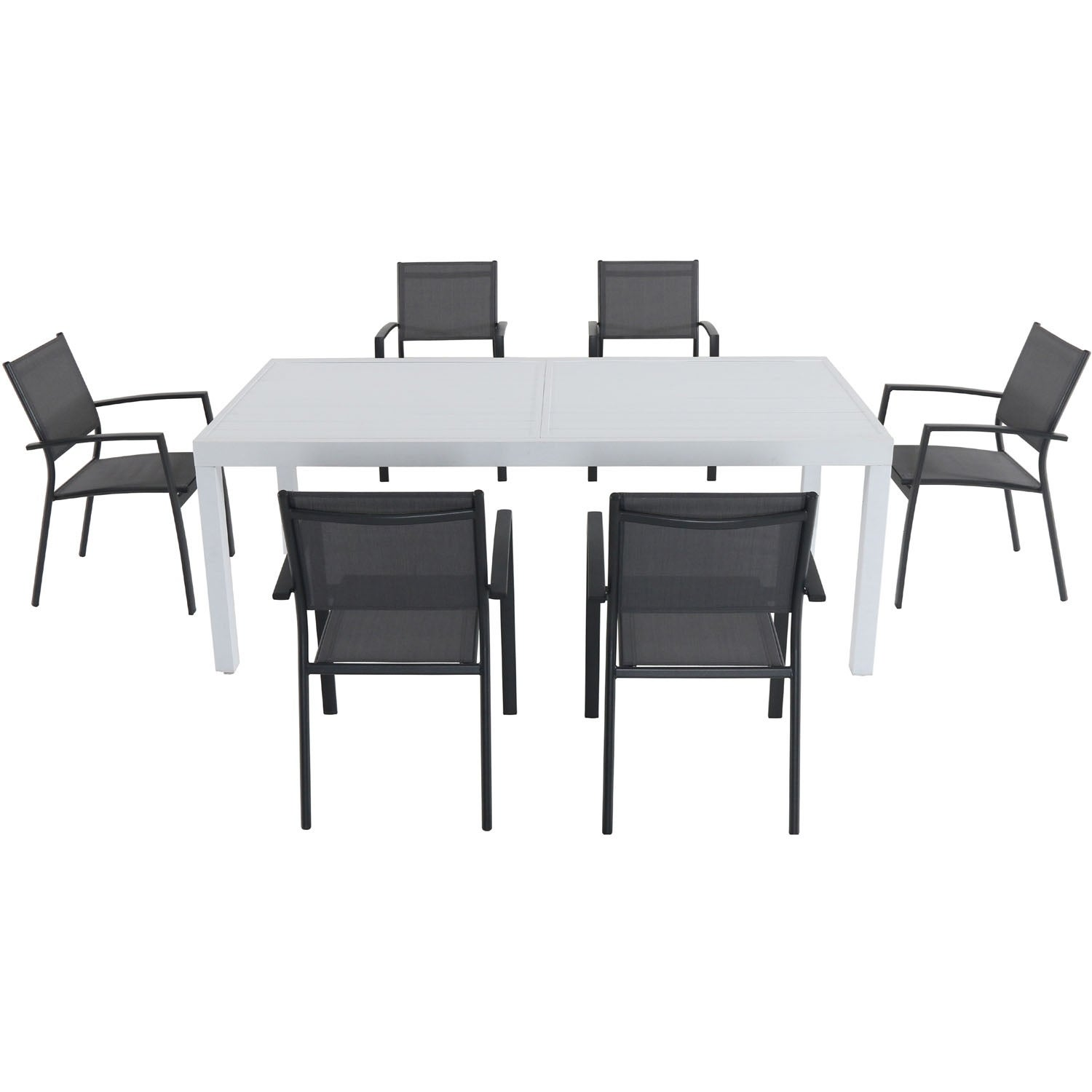 Cambridge Palermo 7-Piece Outdoor Dining Set with 6 Sling Chairs in Gray and a 40 x 118 Expandable Dining Table