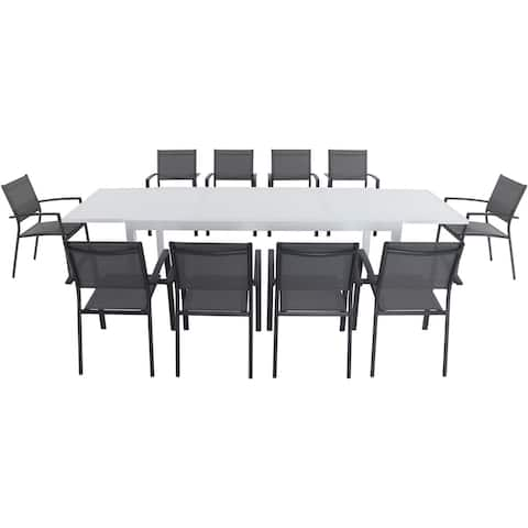 "Cambridge Palmero 11-Piece Outdoor Dining Set with 10 Sling Chairs in Gray and a 40"" x 118"" Expandable Dining Table"