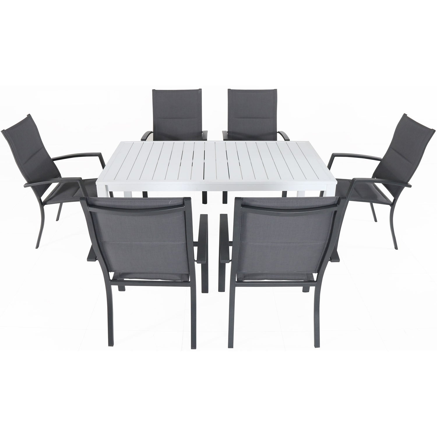 Cambridge Palermo 7 Piece Outdoor Dining Set With 6 Padded Sling Chairs In Gray And A 78 X 40 Dining Table Overstock 22419047