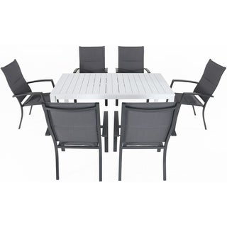 "Cambridge Palermo 7-Piece Outdoor Dining Set with 6 Padded Sling Chairs in Gray and a 78"" x 40"" Dining Table"