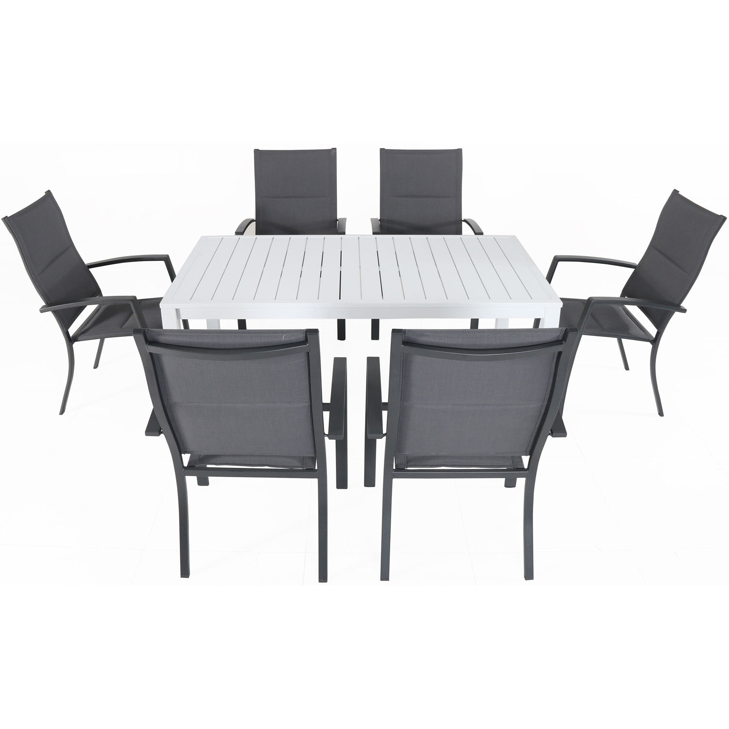 Cambridge Palermo 7-Piece Outdoor Dining Set with 6 Padded Sling Chairs in Gray and a 78 x 40 Dining Table