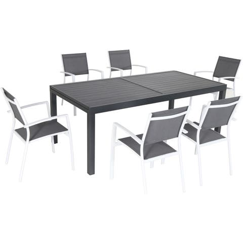 """Nova 7-Piece Outdoor Dining Set with 6 Sling Chairs in Gray/White and a 63"""" x 35"""" Slat-top Dining Table"""