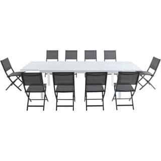 Cambridge Palermo 11-Piece Outdoor Dining Set with 10 Folding Chairs in Gray and a White Expandable Dining Table