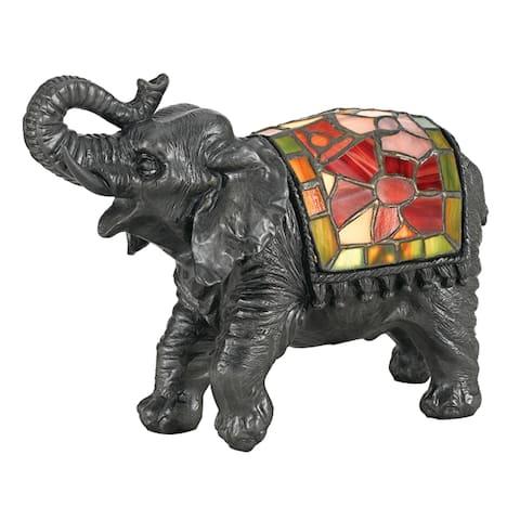 Quoizel Elephant Dark Grey 1-light Tiffany Table Lamp