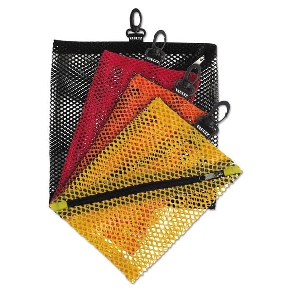 Vaultz Mesh Storage Bags, Assorted Colors, 4/PK
