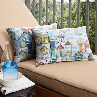 Indoor/Outdoor Blue Multi Beachhouse Lumbar Pillow, Set of 2