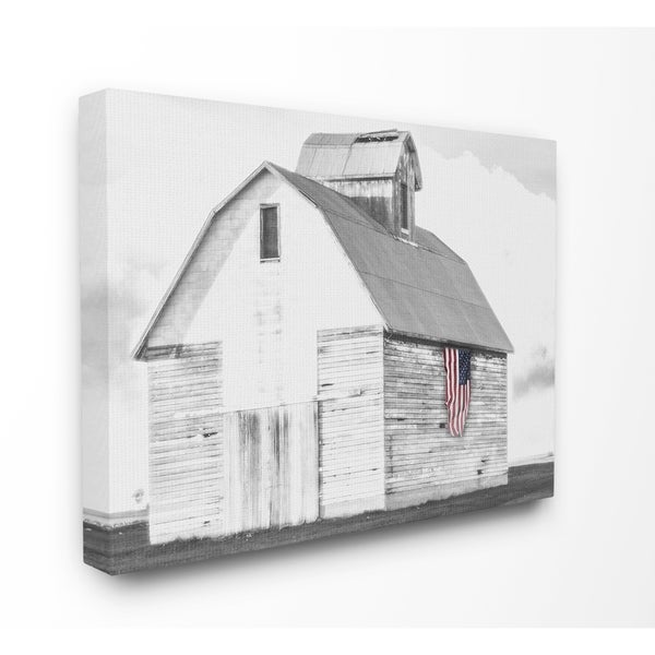 Shop The Stupell Home Decor Collection Rustic US Barn Flag Black And White Canvas 16 X 15 20 Made In USA