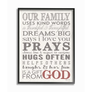 The Stupell Home Decor Collection Our Family Dream Pray Grey Red and White Typography, Framed Giclee, 16 x 1.5 x 20, Made in USA