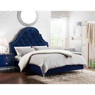 Chic Home Constantine Velvet Upholstered Bed Frame with Headboard (Blue Finish - navy - Queen)