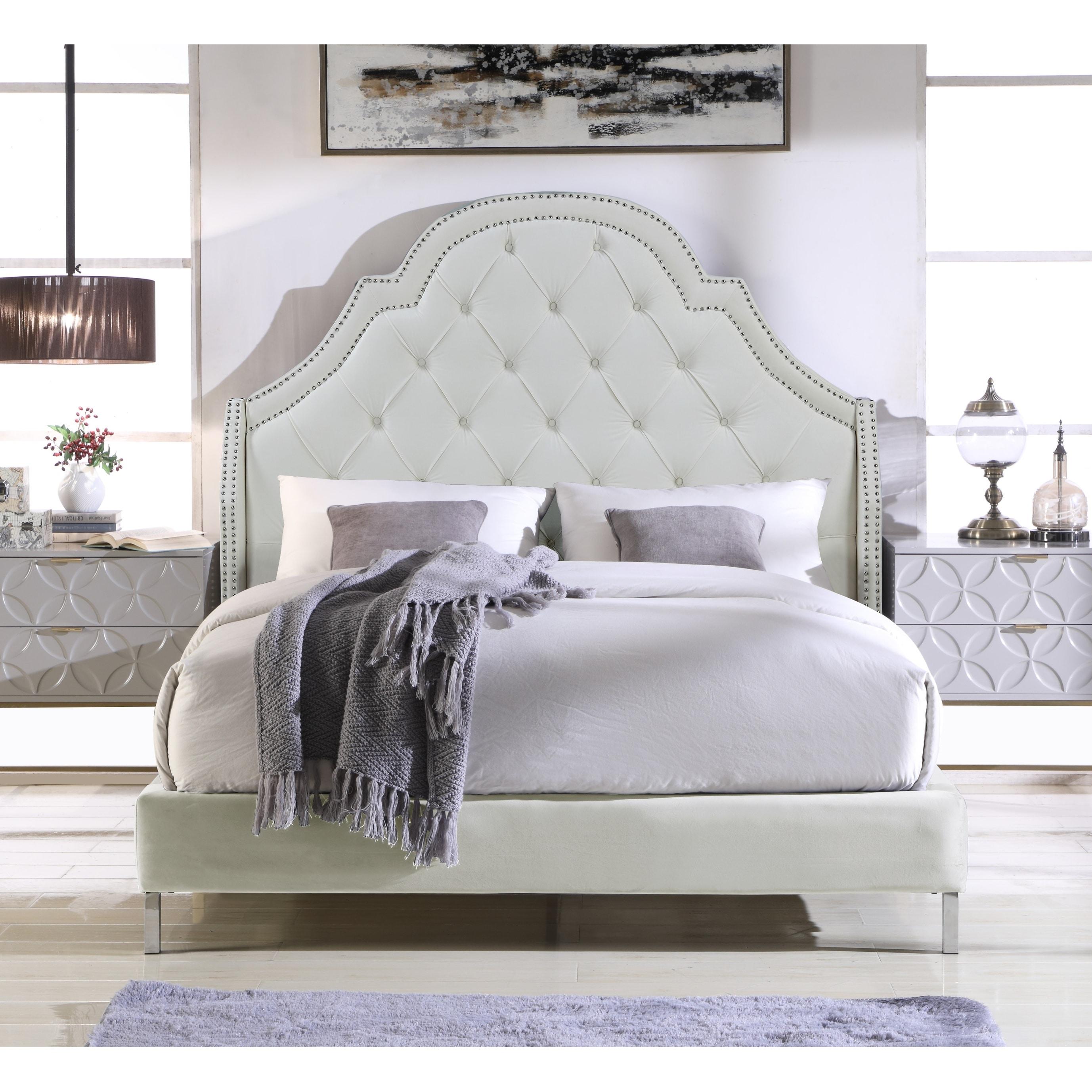 Chic Home Constantine Velvet Upholstered Bed Frame with Headboard