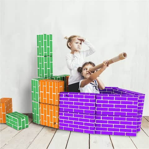 Cardboard Building Block Set- 30 Piece Colorful, 3 Size Corrugated Blocks Hey! Play!