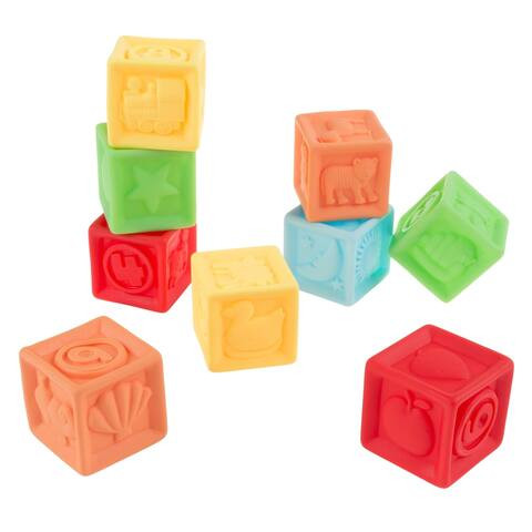 123 Soft Rubber Blocks-BPA-Free Colorful, Squeezable Numbers Building Block Set Hey! Play!
