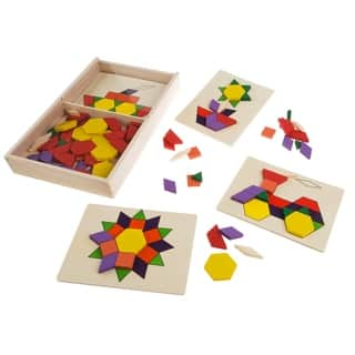Kids Tangrams Toy-125 Wooden Block Geometric Shapes, 5 Two-Sided Boards STEM Hey! Play!