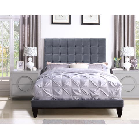 Chic Home Handel Velvet Upholstered Bed Frame with Headboard