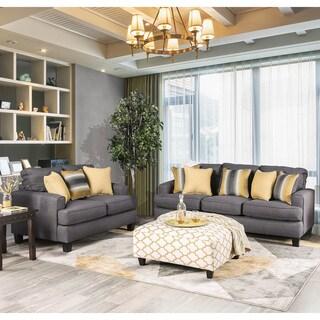 Furniture of America Pish Contemporary Grey Fabric 2-piece Sofa Set