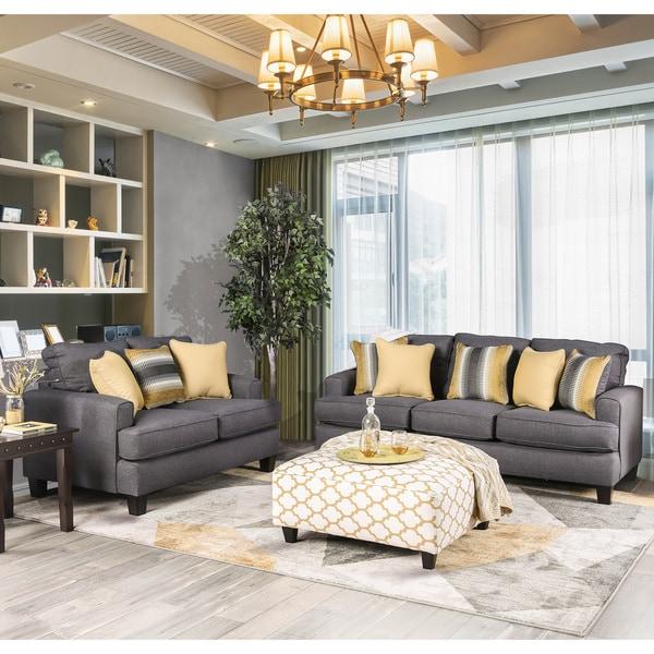 Shop Furniture Of America Tristan 2 Piece Contemporary Grey Sofa Set