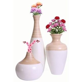 Spun Vase, White and Natural