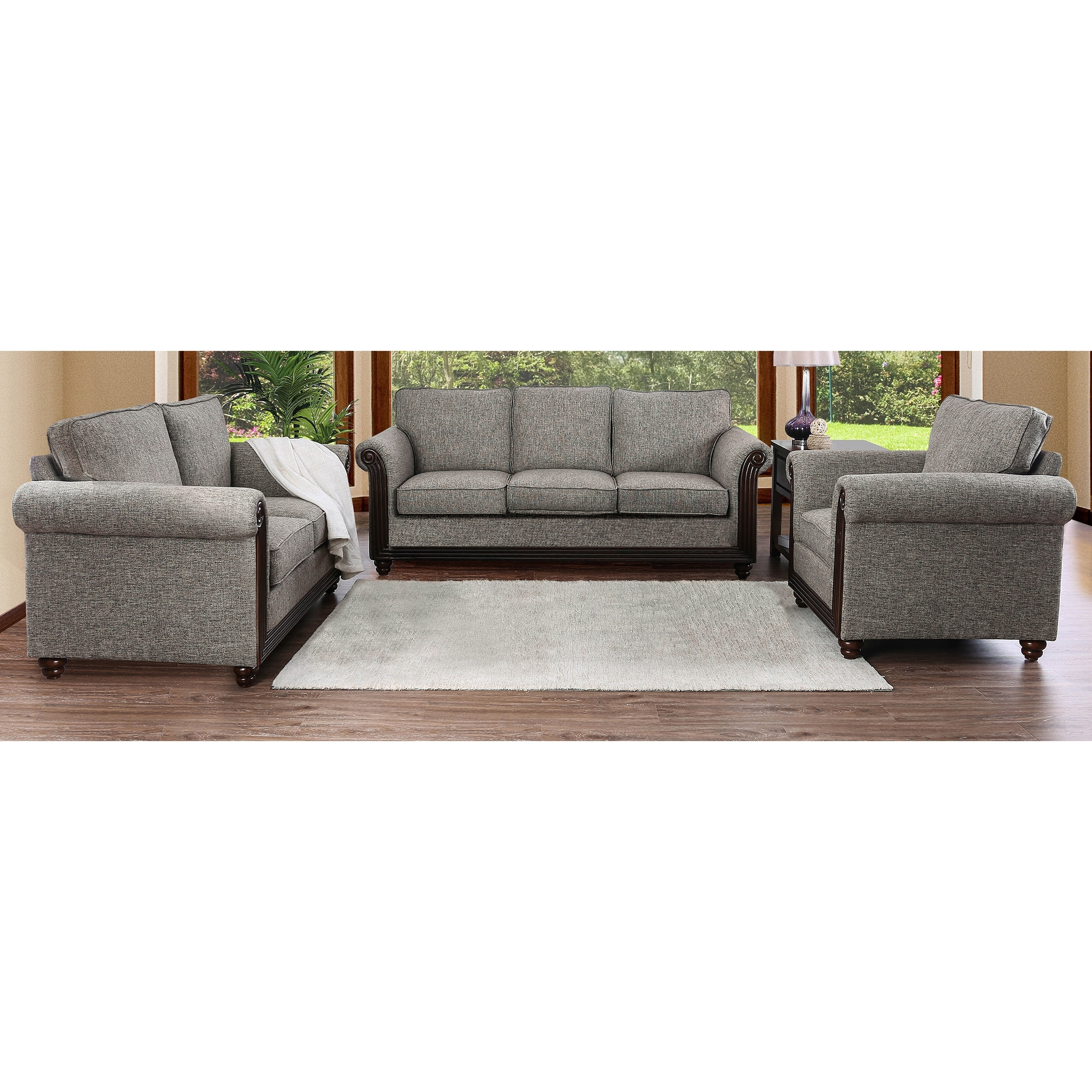 Finley Traditional Grey 3-piece Sofa Set by FOA (Warm Grey)