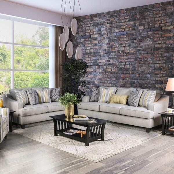 Shop Furniture Of America Addison 2 Piece Contemporary Grey Chenille