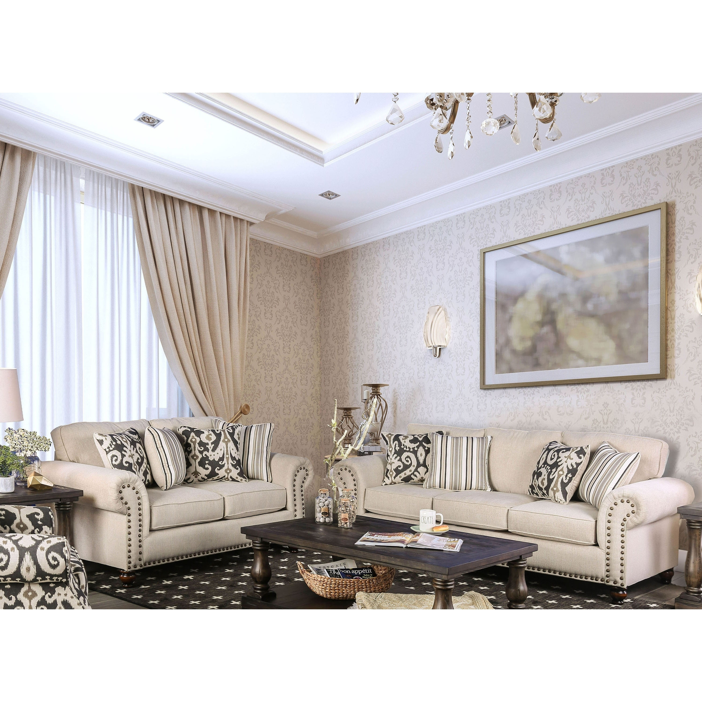 Upton Traditional Ivory 2-piece Sofa Set by FOA (Ivory)