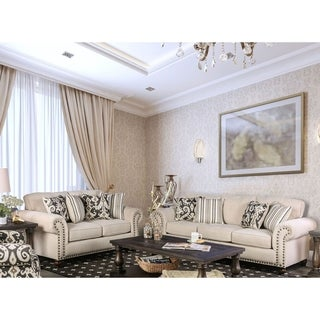 Furniture of America Upton 2-Piece Traditional Ivory Sofa Set