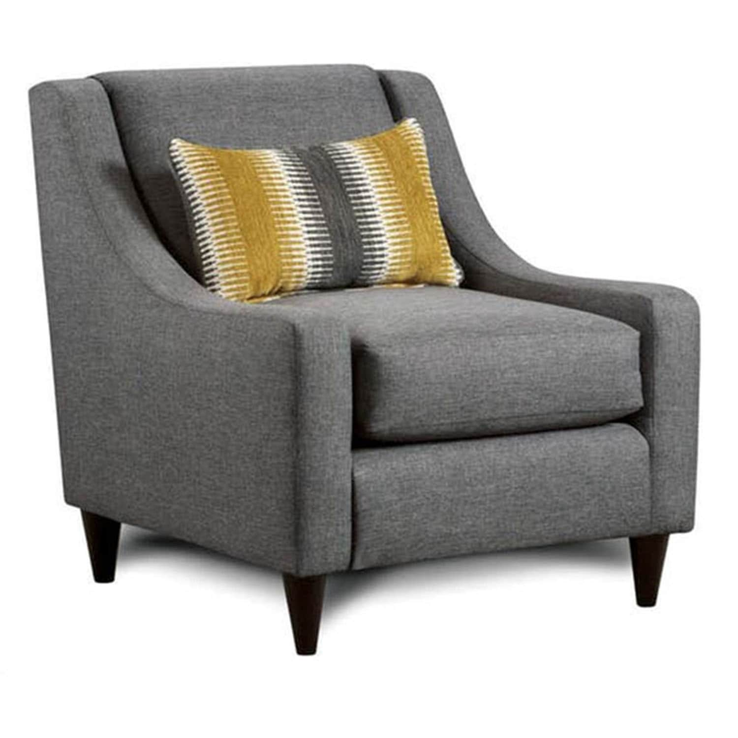 Tristan Transitional Grey Sloped Arm Accent Chair by FOA (Grey)