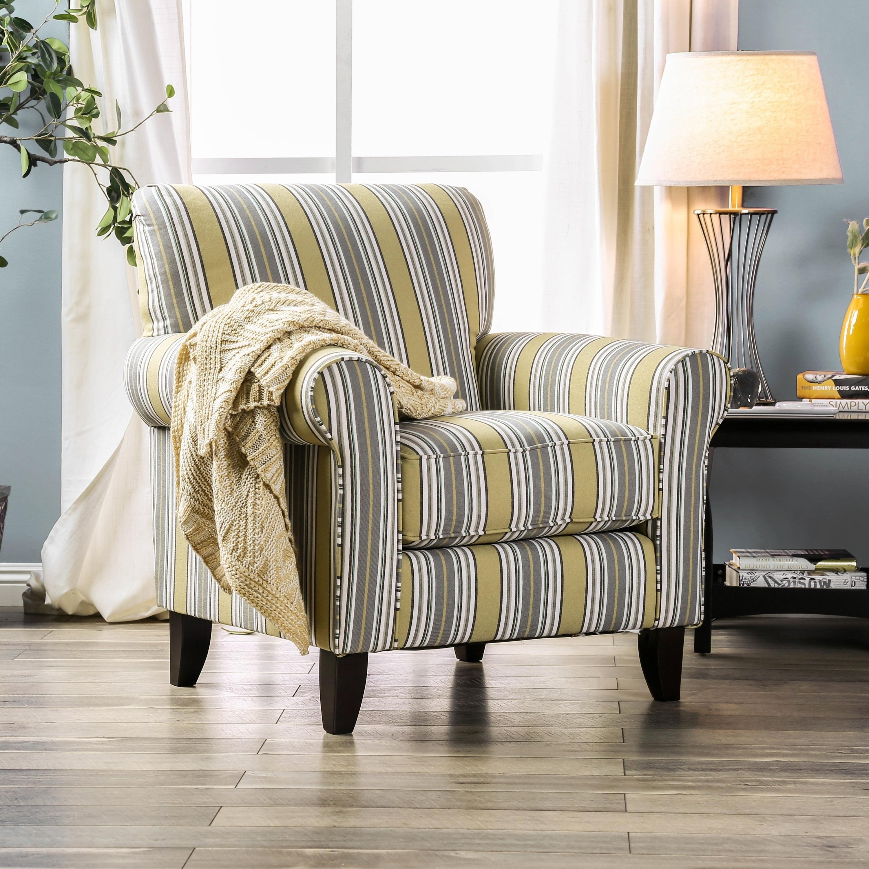 Addison Contemporary Multi Striped Accent Chair by FOA (Striped)