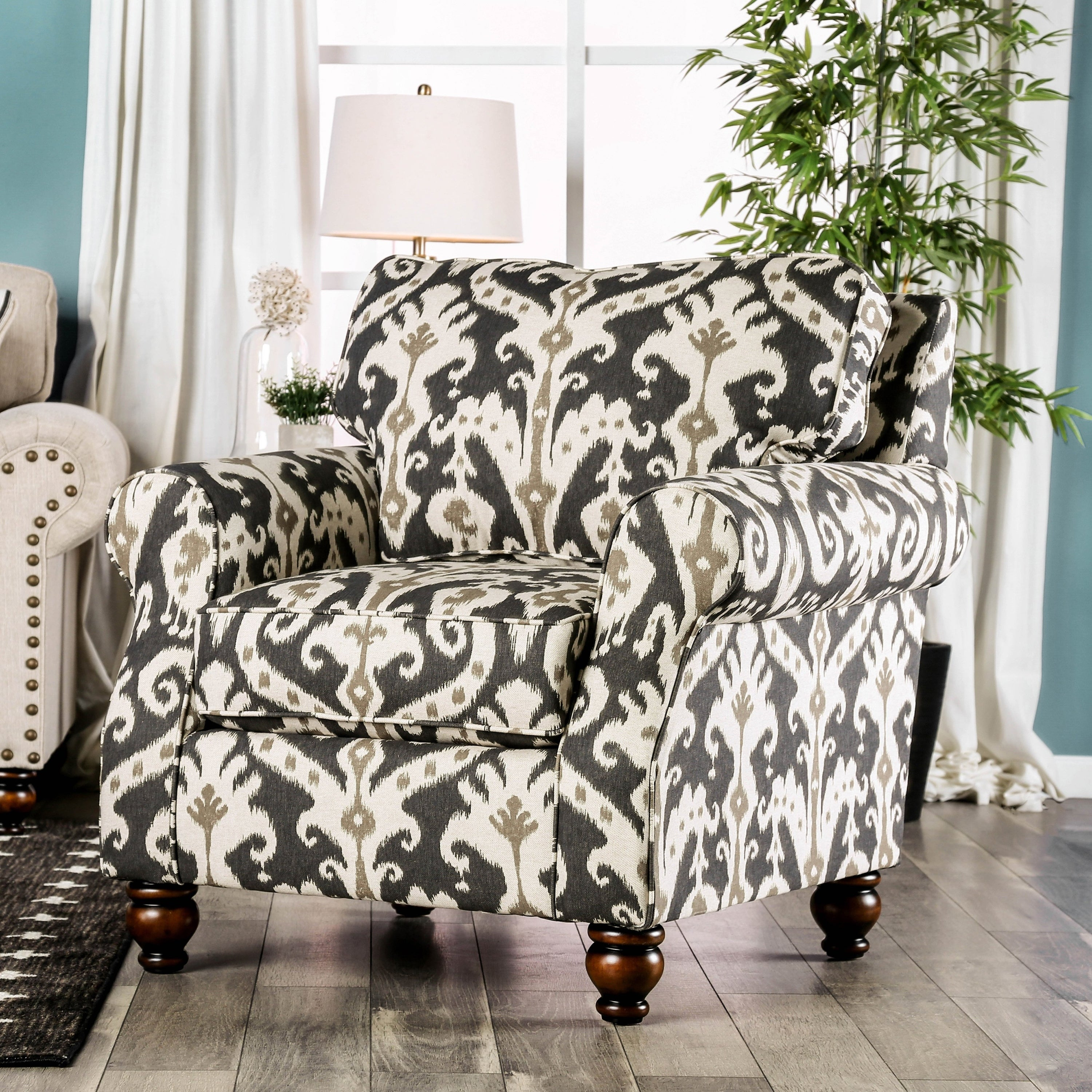 Upton Traditional Multi Ikat Accent Chair by FOA (Ikat)