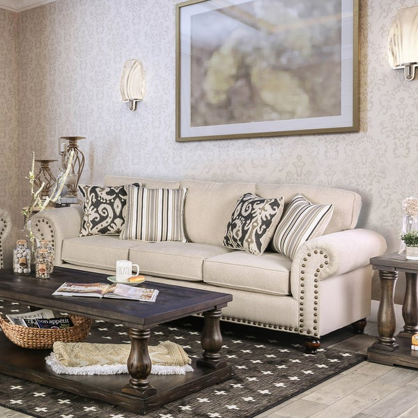 Shop Upton Traditional Ivory Sofa By Foa On Sale Free