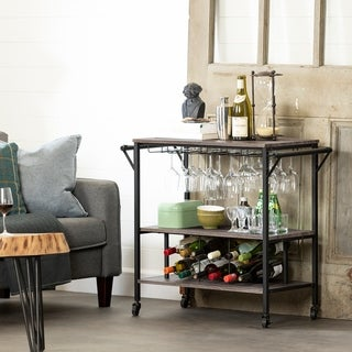 South Shore Munich Bar Cart with Wine Rack (weathered oak and matte black)