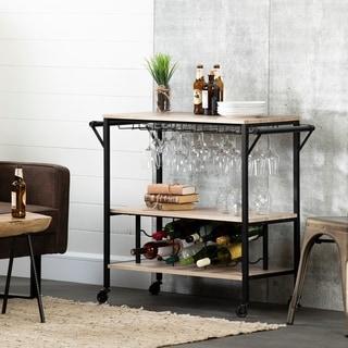 South Shore Munich Bar Cart with Wine Rack (white oak barrel)