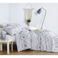 BYB Ruffled Chevron Textured Oversized Duvet Cover - Glacier Gray
