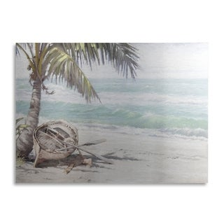 The Macneil Studio 'Boat On Beach' Floating Brushed Aluminum Art