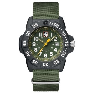 Luminox Men's 3517 Navy Seal Carbon Green Nylon Strap Watch