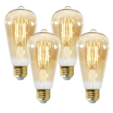 Light Society Holland ST21 Amber LED Vintage Filament Light Bulb - Set of 4