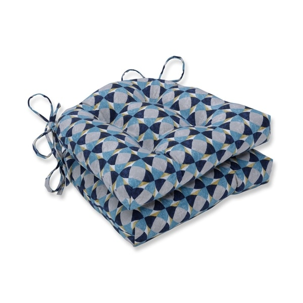 Pillow Perfect Indoor Echo Geo Peacock Reversible Chair Pad (Set of 2), 16 in. L X 15.5 in. W X 4 in. D