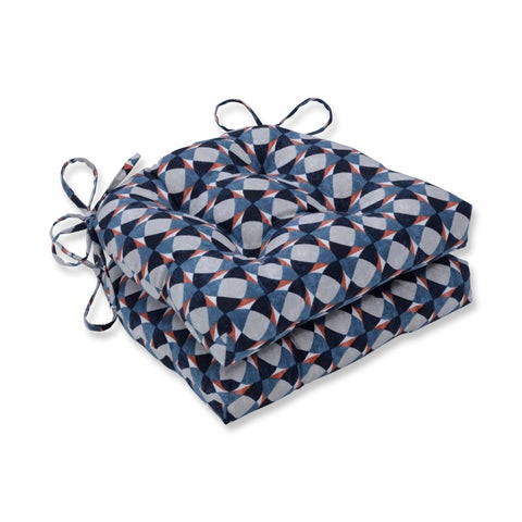 Pillow Perfect Indoor Echo Geo Admiral Reversible Chair Pad (Set of 2), 16 in. L X 15.5 in. W X 4 in. D