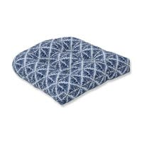 Pillow Perfect Indoor Gem Field Indigo Wicker Seat Cushion, 19 in. L X 19 in. W X 5 in. D
